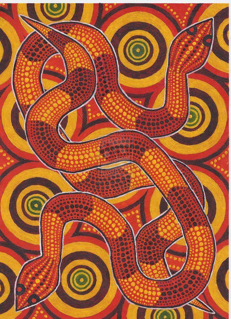 Aboriginal_Snakes_by_derng sztuka Aborygenów Pinterest