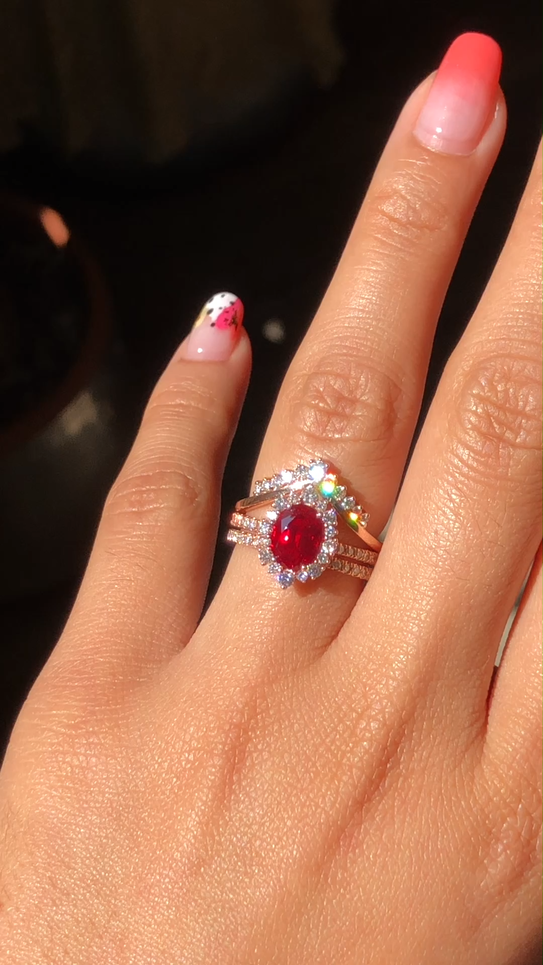 Tiara Halo Oval Cut Ruby Trio Ring Stack by La More Design