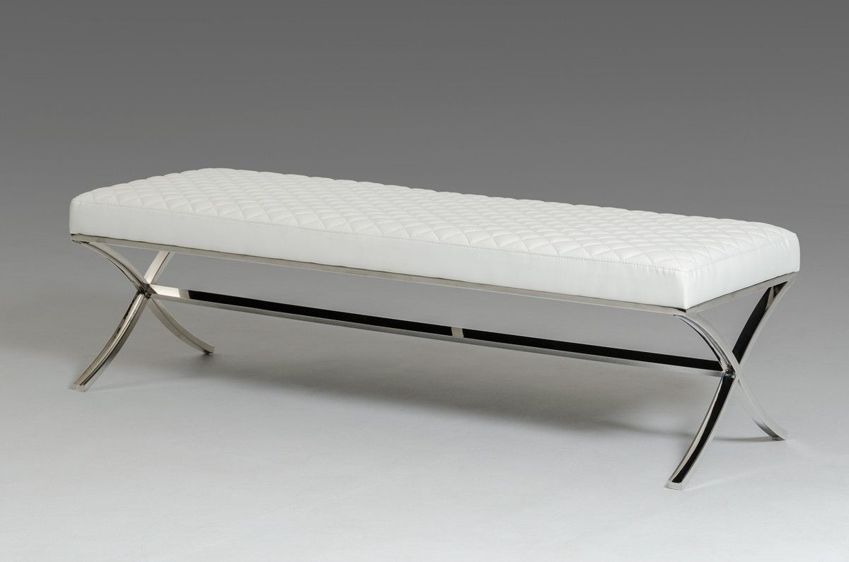 Modrest Adderley Modern White Leatherette Dining Bench  Dining Enchanting White Dining Room Bench Decorating Inspiration
