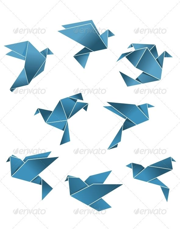 blue paper pigeons and doves in origami style origami