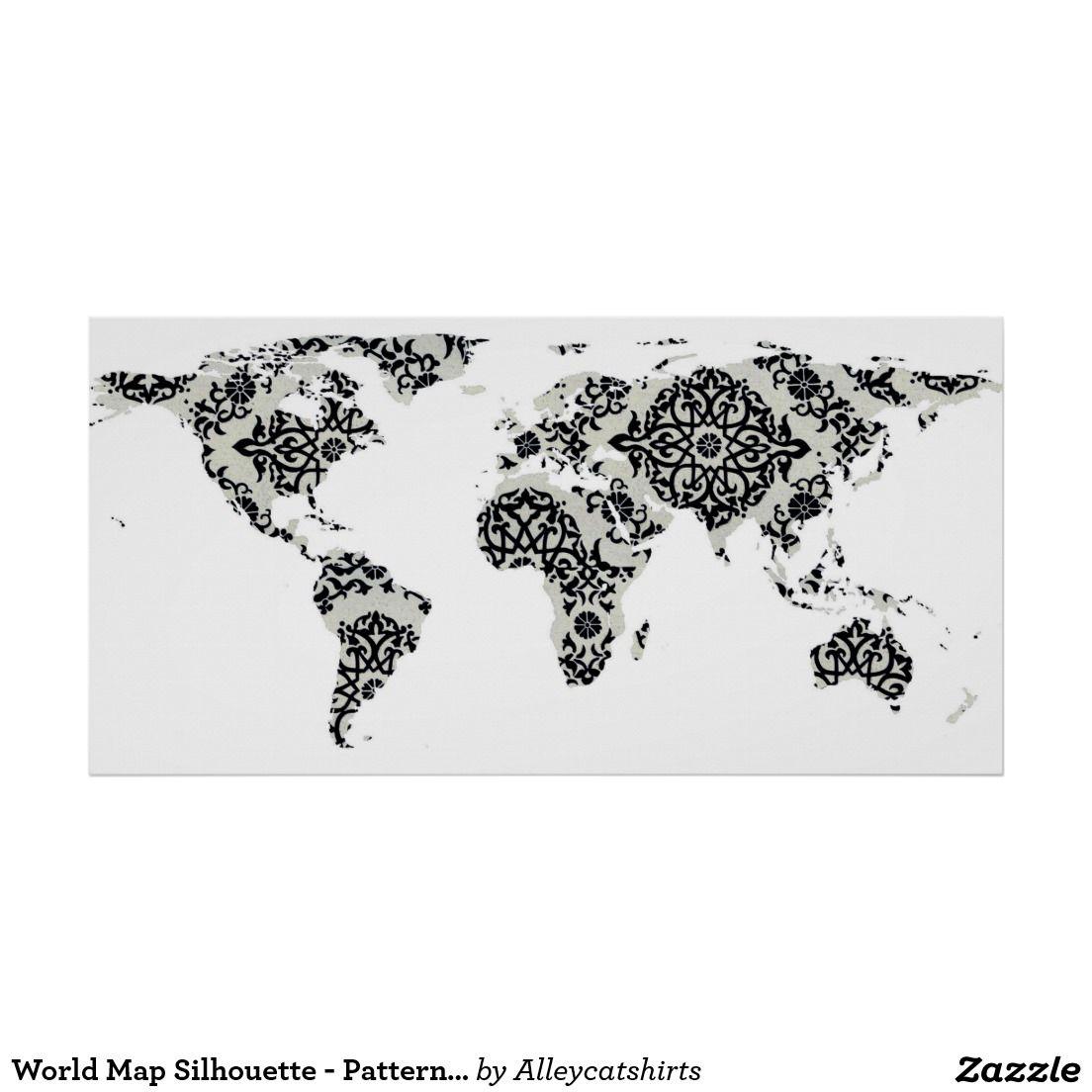 World Map Silhouette Patterned Mandala White Poster World Map - World map silhouette poster