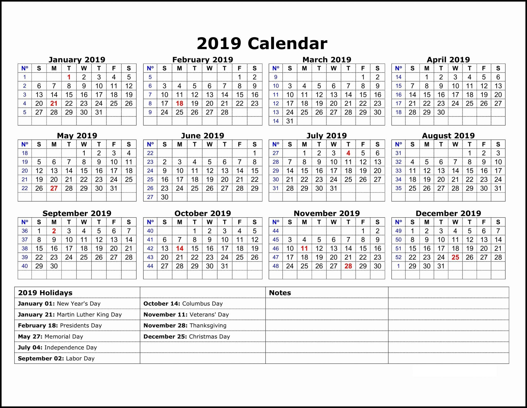 Free 2019 One Page Calendar Printable Download With Images