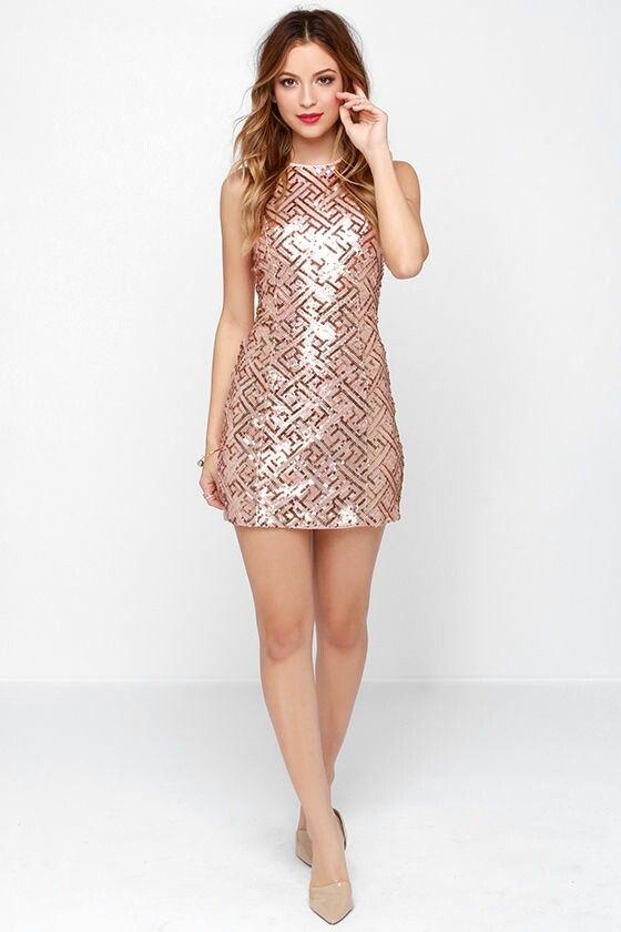 90cf1f89 Rose Gold Sequin Dress, Sweet Sixteen Dresses, Bridesmaid Inspiration,  Pretty Roses, Open