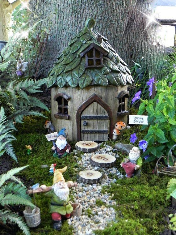Fairy House Large Garden Cottage Leaf Style Roof Etsy
