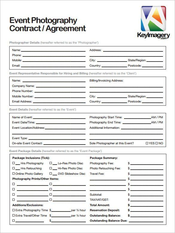 Sample Photography Contract Template , 20+ Photography Contract - lending contract template