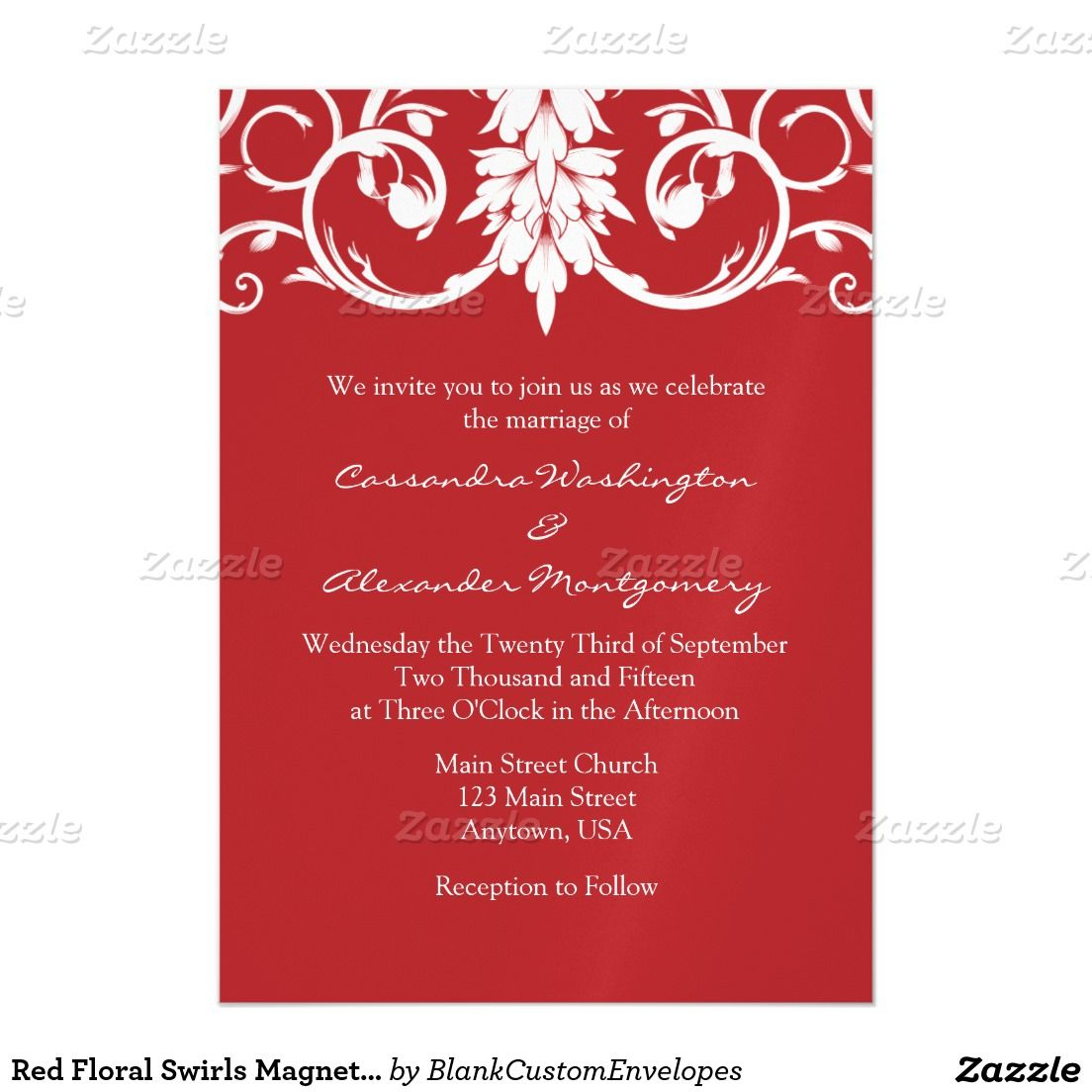 Red Floral Swirls Magnetic Wedding Invites | Wedding: Winter ...
