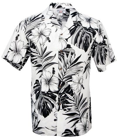 hibiscus passion mens hawaiian aloha shirt in white