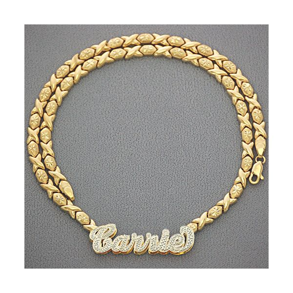 ed9c991726f229 XO Chain 10kt Gold Personalized Name Necklace Pendant found on Polyvore  featuring polyvore, fashion, jewelry, necklaces, gold chain pendant, two  tone chain ...