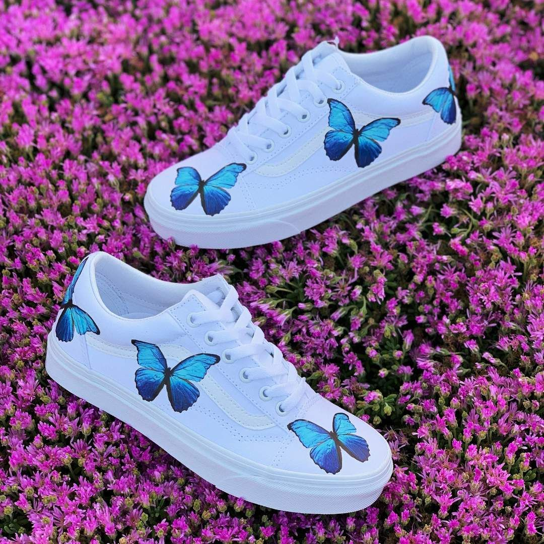 Custom vans shoes, Butterfly shoes