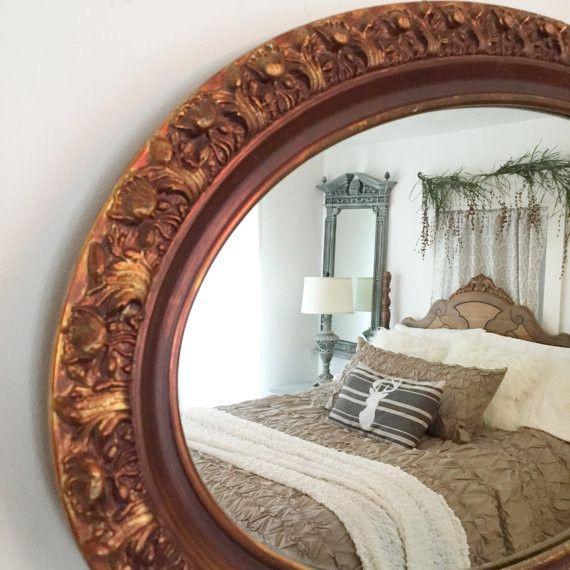 "Bathroom Mirror Gold large gold mirror ornate oval bathroom wall mirror 34""x18"