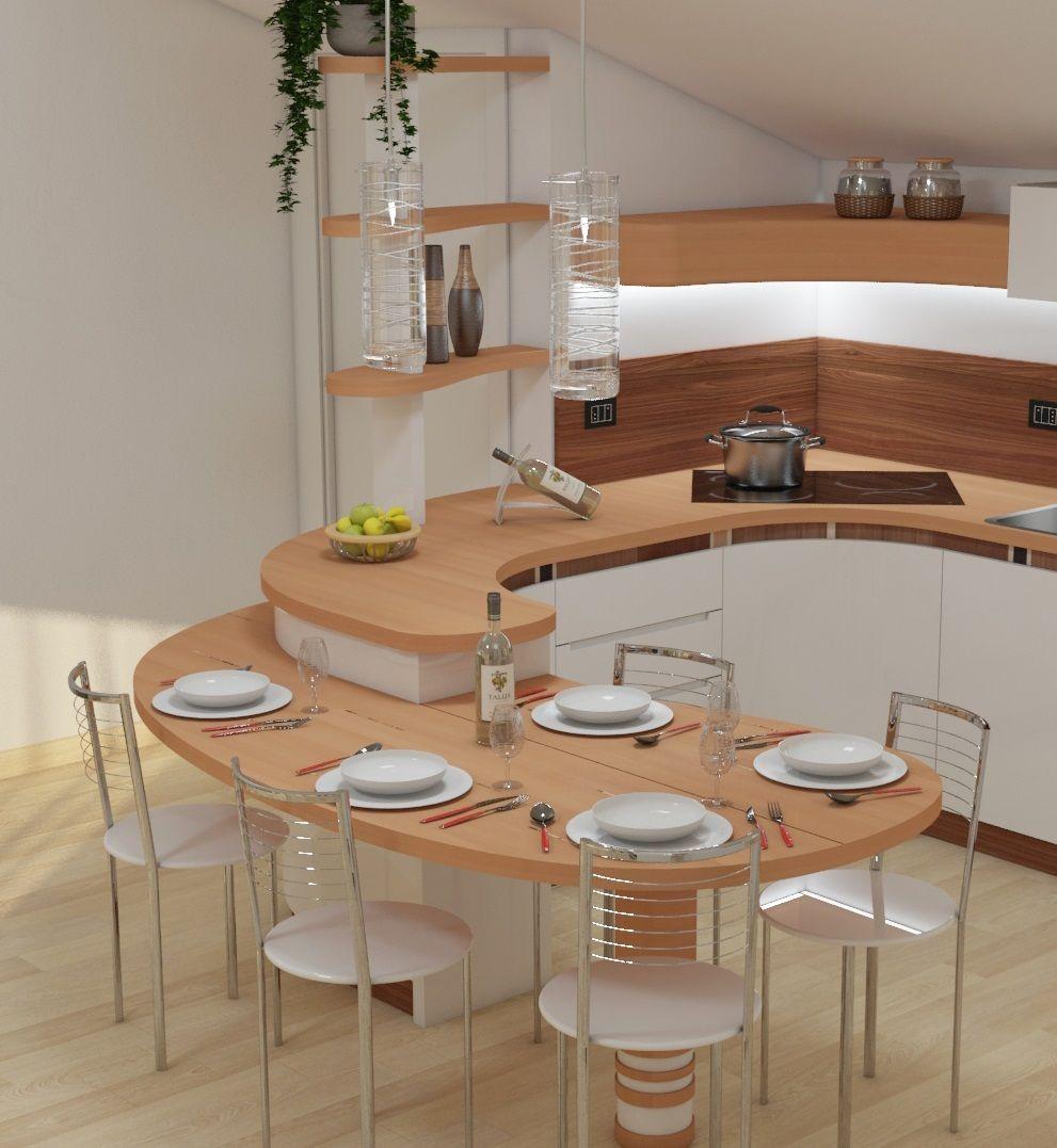 Il Bancone Avvolge La Cucina Ne Interpreta Gli Angoli E Si Trasforma In Un Ristrutturazione Piccola Cucina Arredo Interni Cucina Arredamento Moderno Cucina