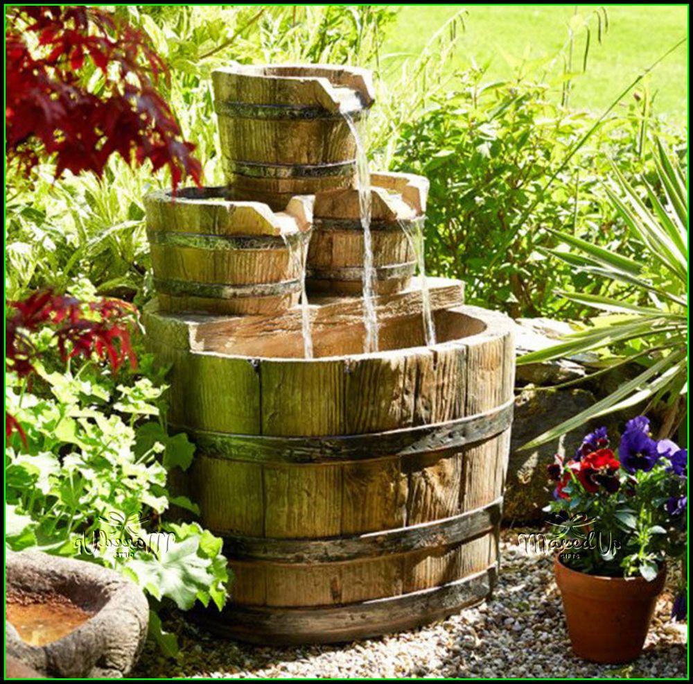 Garden water features  Wooden Barrel Effect LED Garden Water Feature  Fountain  Pinterest