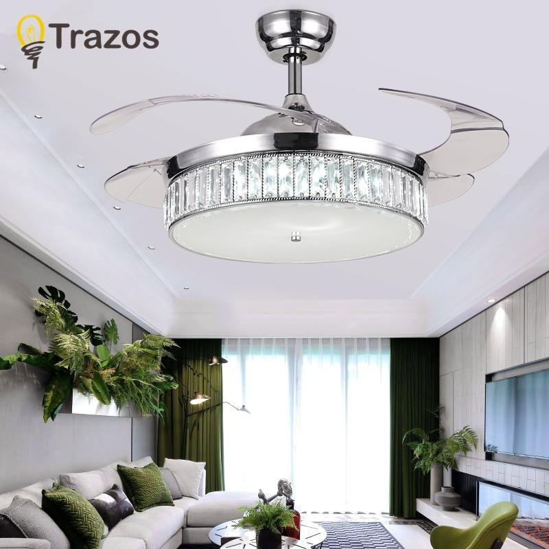 Trazos Modern Led Crystal Ceiling Fans With Lights Bedroom Fan