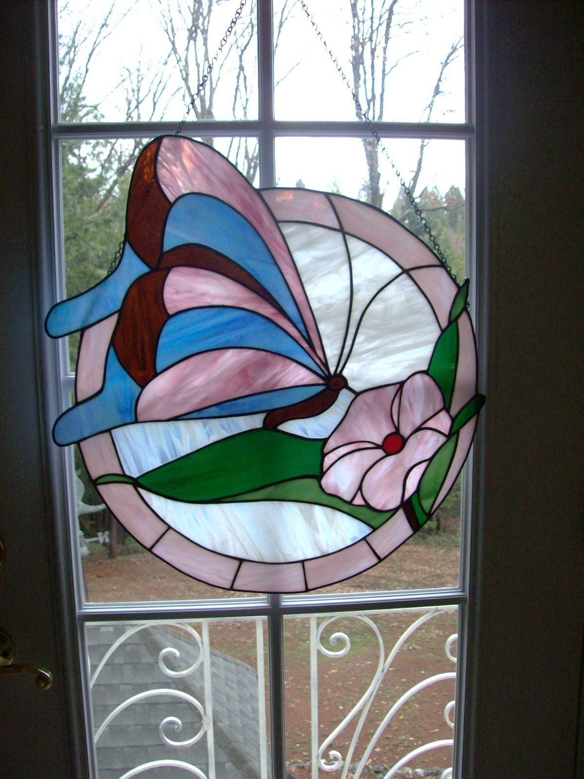 Large Vintage Round Leaded Stained Glass Window Panel Butterfly and Flower | eBay