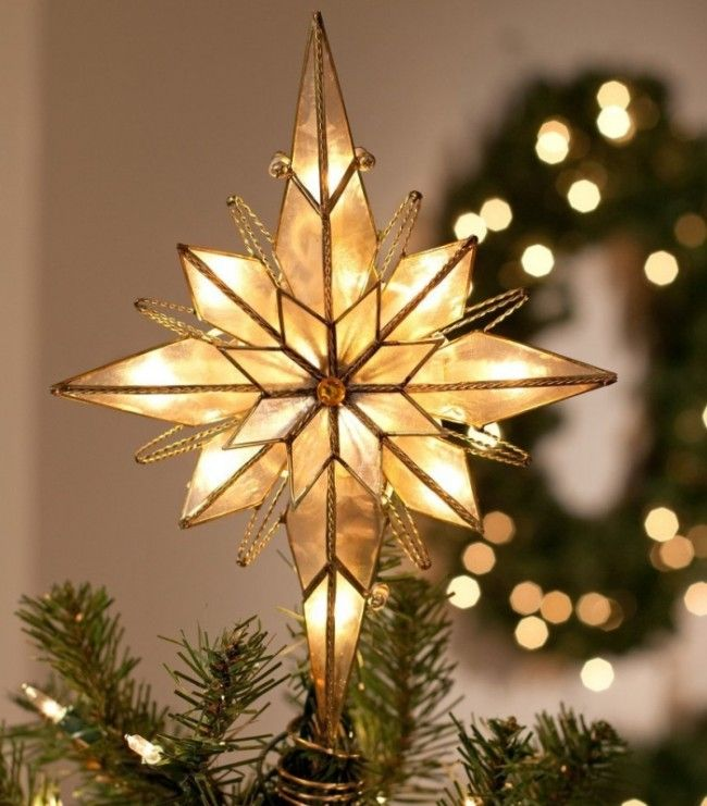 Multi Point Bethlehem Star Tree Topper - Layers of multi-point stars;White  capiz panels diffuse light;Center orange jewel Link #Christmas - Multi Point Bethlehem Star Tree Topper - Layers Of Multi-point Stars