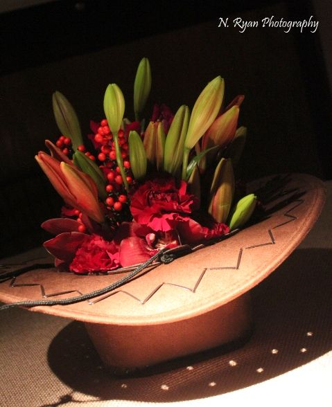Cowboy Hat Centerpiece Filled With Fresh Flowers Do You