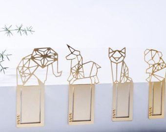 MIZYAN's gold plated geometric animals bookmarks, elephant, cat, panda koala, unicorn geometric bookmarks,  gift, Valentine gift