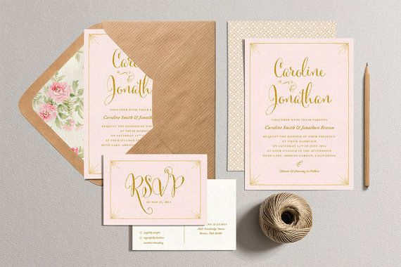 Printable Wedding Invitation And Rsvp Card Blush Pink And Gold