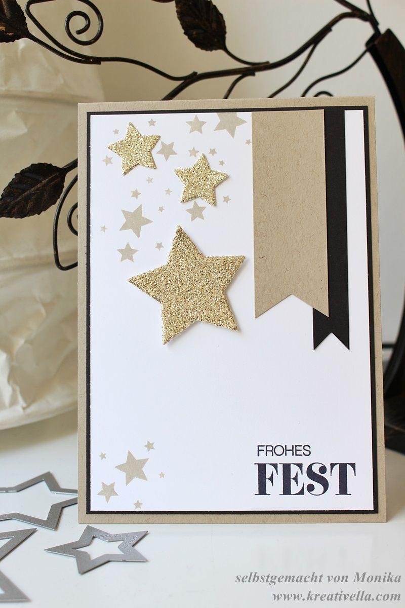 Winterliche Weihnachtsgrüße.Weihnachtskarte Sterne Savanne Gold Schwarz Weiß Stampin Up Frohes