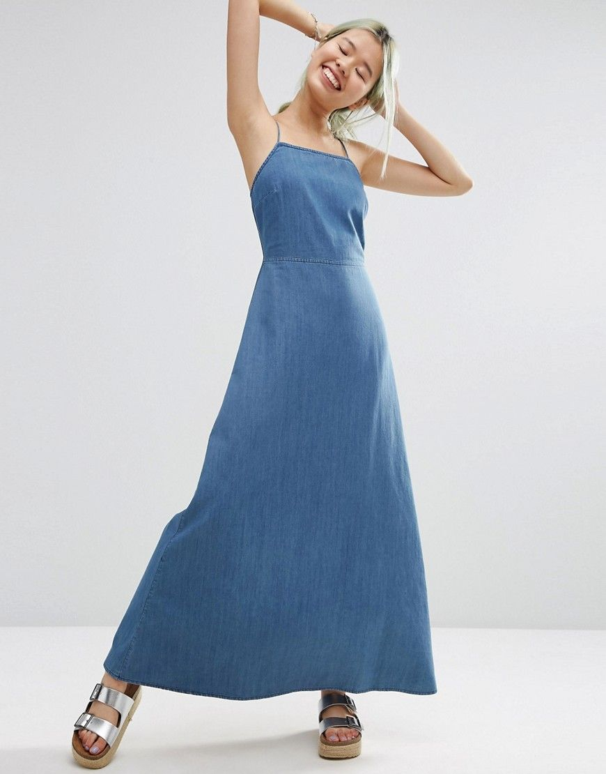 Image 1 of ASOS Maxi Dress With Tie Back in Washed Cotton ...