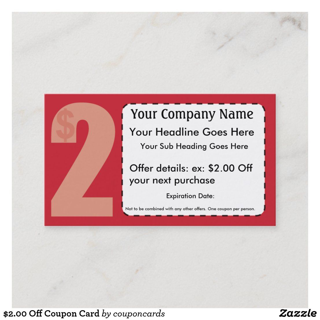 2 00 Off Coupon Card Zazzle Com Business Card Size Standard Business Card Size Discount Card