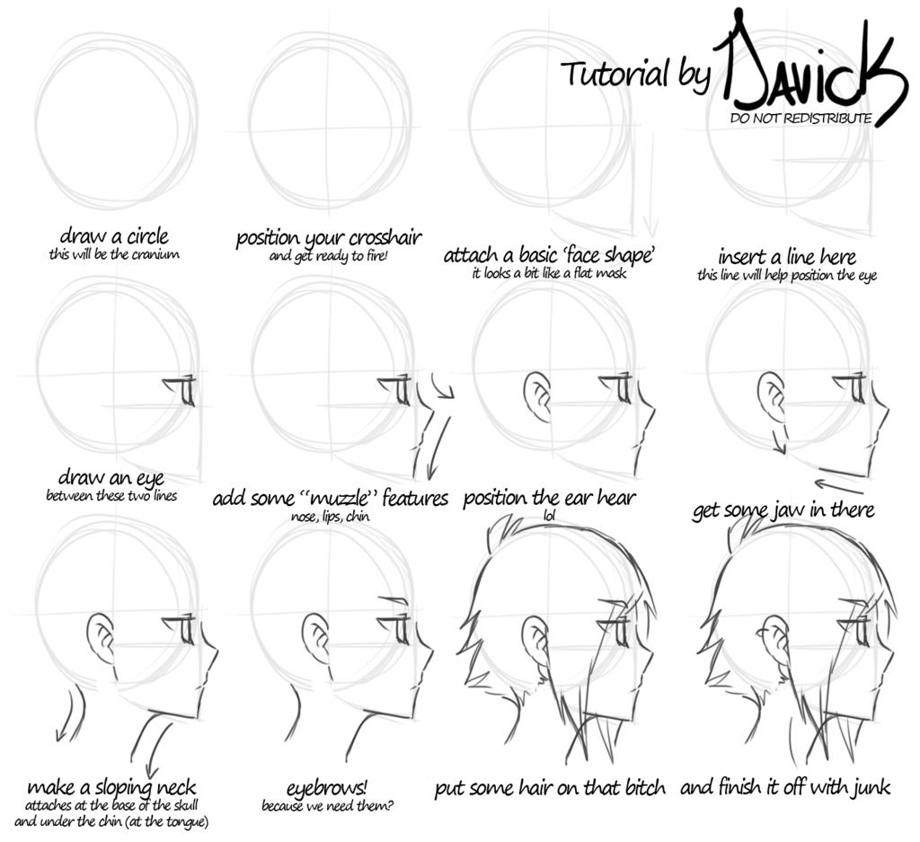 Lazy Tutorial Anime Head In Profile By Davick On Deviantart Desenhando Cabecas Cabelo Desenho Guia De Desenho