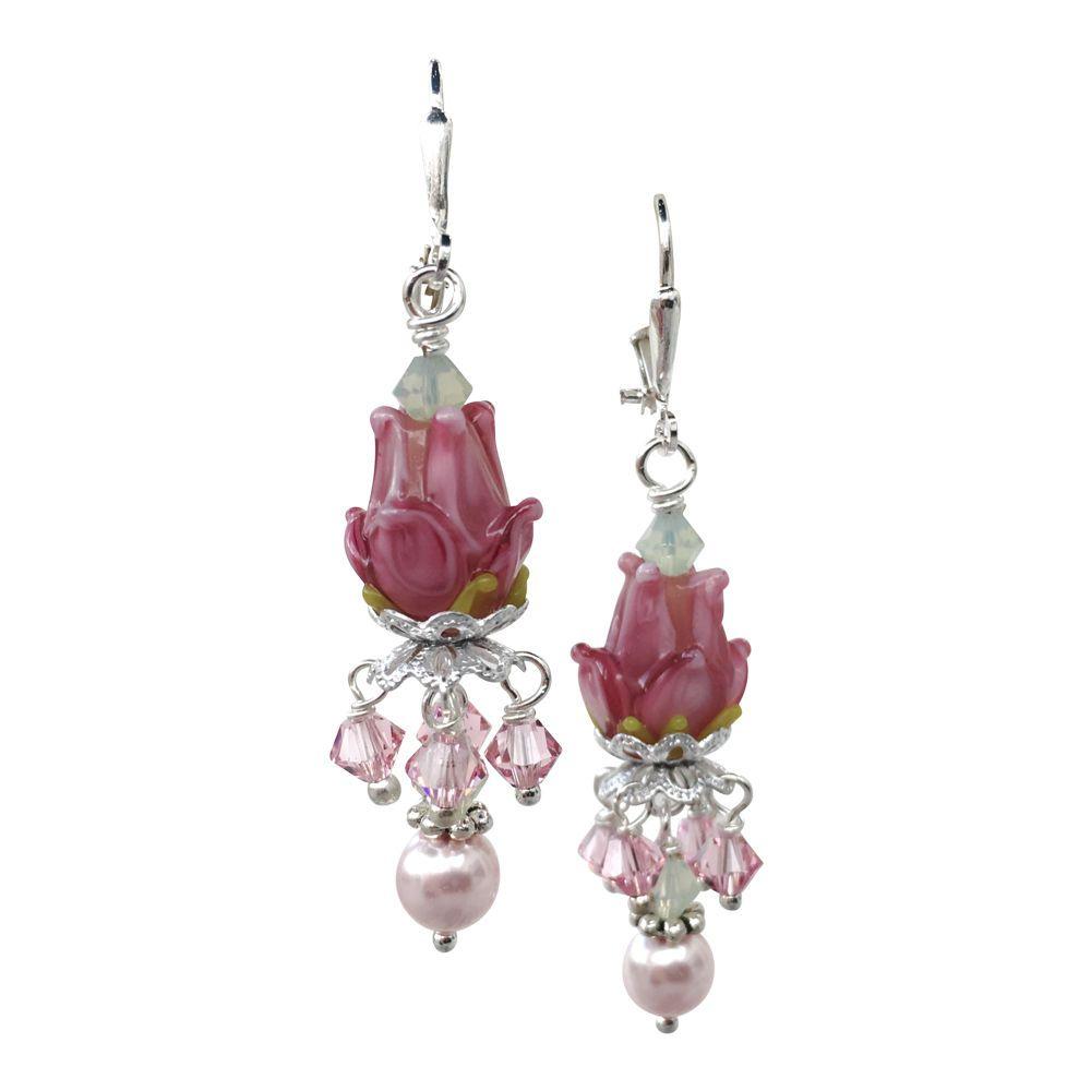 Rose of Sharon Glass Lampwork Swarovski Crystal Dangle Earrings #HisJewelsCreations #DropDangle
