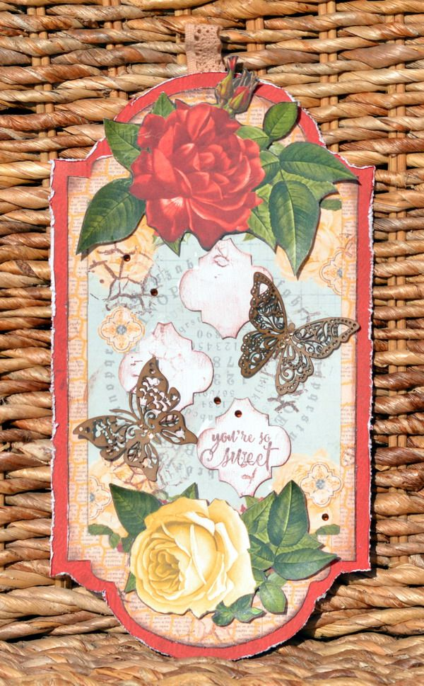 A mixed media large tag using the romantic and gorgeous Juliet Collection