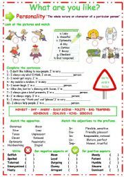 English teaching worksheets: Describing personality   ESL   Pinterest