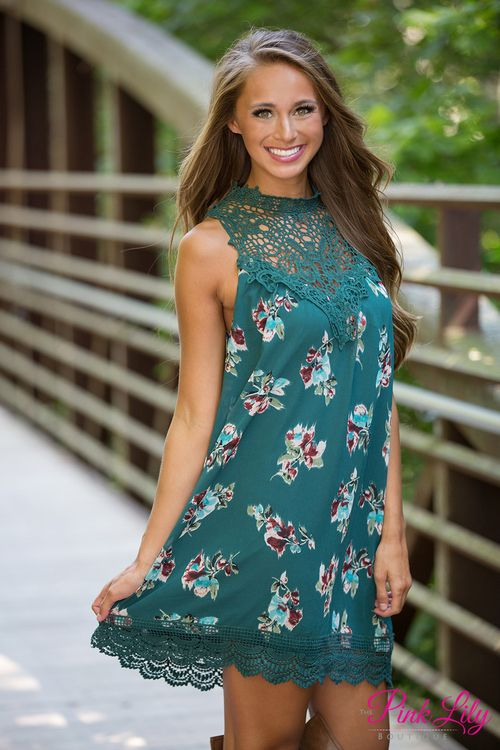 7baf8923bc53 The unique color of this floral lace dress will have you swooning! We adore  the combination of deep emerald green, burgundy, aqua, jade, blush pink, ...