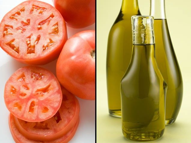 """Extra-Virgin Olive Oil + Tomatoes = Disease Defense    Tomatoes boast all four major carotenoids (alpha-carotene, beta-carotene, lutein, and lycopene) plus three potent antioxidants (beta-carotene, vitamin E, and vitamin C) that may help fight cancer and heart disease. """"You'll absorb more of these protective chemicals if you eat them with olive oil,"""" says Magee. """"It's high in healthy monounsaturated fats and slows digestion so you can soak up more of them."""""""