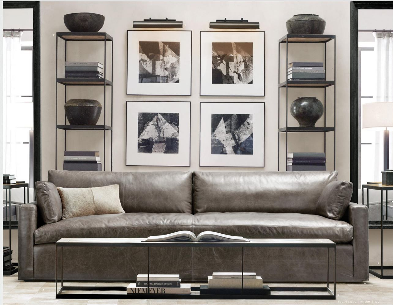 Grey leather sofa singer residence living room and - Leather furniture for small living room ...