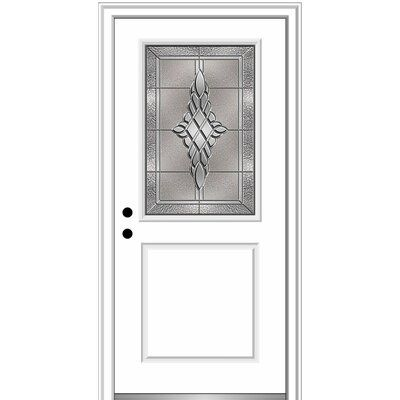 Verona Home Design Fibreglass Smooth 1 2 Lite 1 Panel Single Entry Door Finish Brown Brilliant White Door Size 80 H X 36 W X 1 75 D Door Orient Wood Exterior Door Aluminum Screen