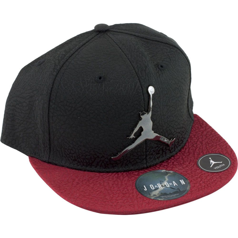 eccb3b9b77d Nike Air Jordan Red Black Baseball Cap Hat Boys Size 8 20 Youth Chrome Logo