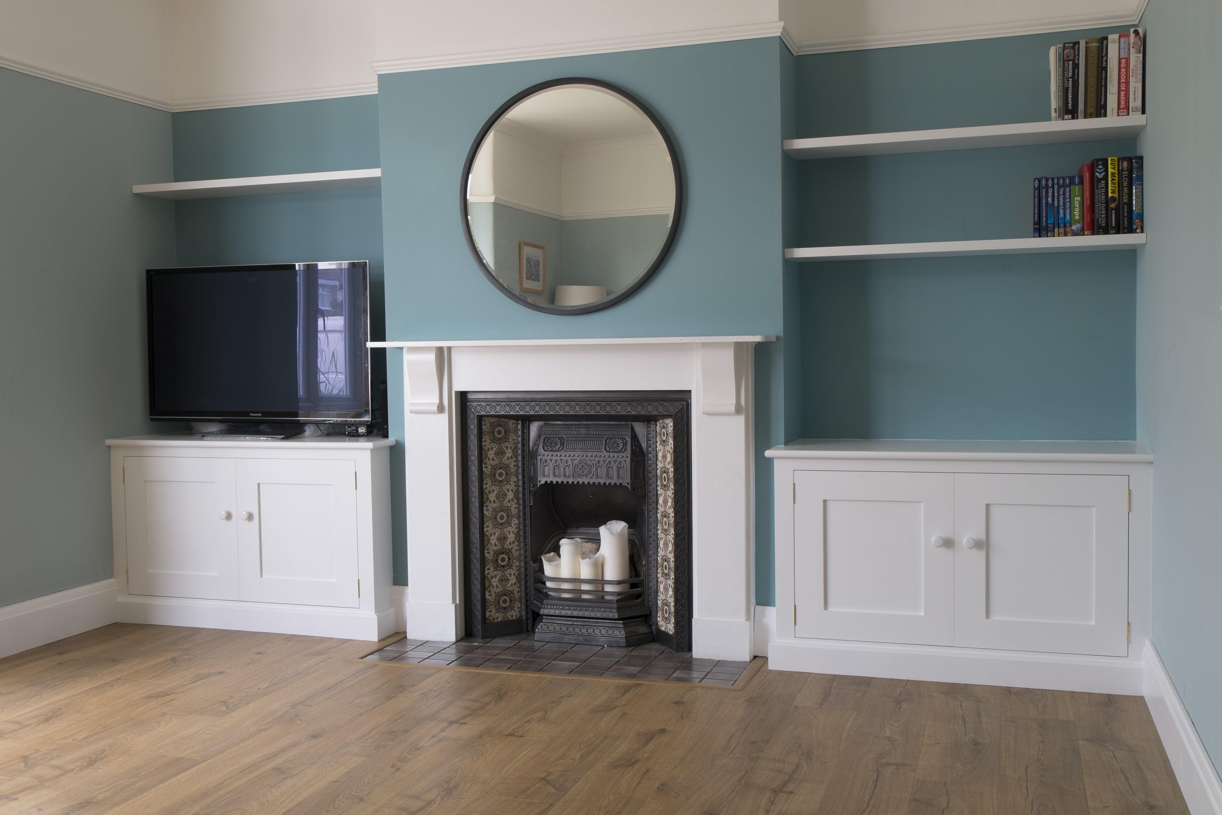 Built In Alcove Cupboards With Floating Shelves Newcupb