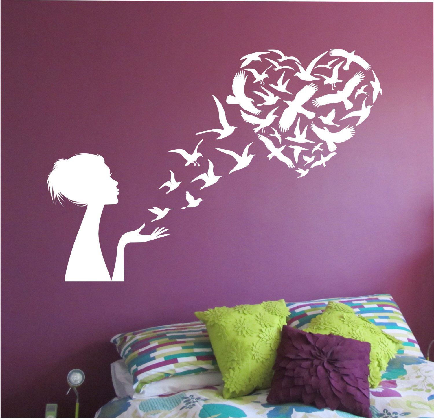 Girl Blowing Birds Into Heart Shape Wall Decal Namaste Vinyl