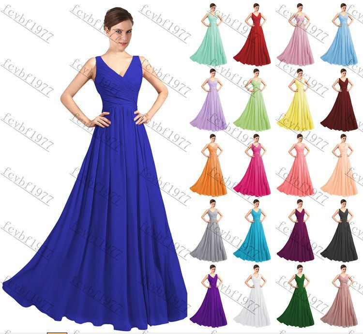 Long Chiffon Formal Lace Evening Ball Gown Party Prom Bridesmaid ...