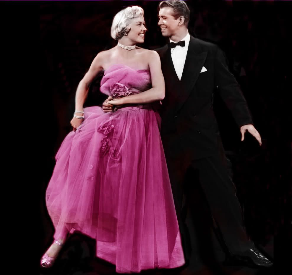 Dress I love--because anything would look good on Doris Day. The violet color is fantastic.