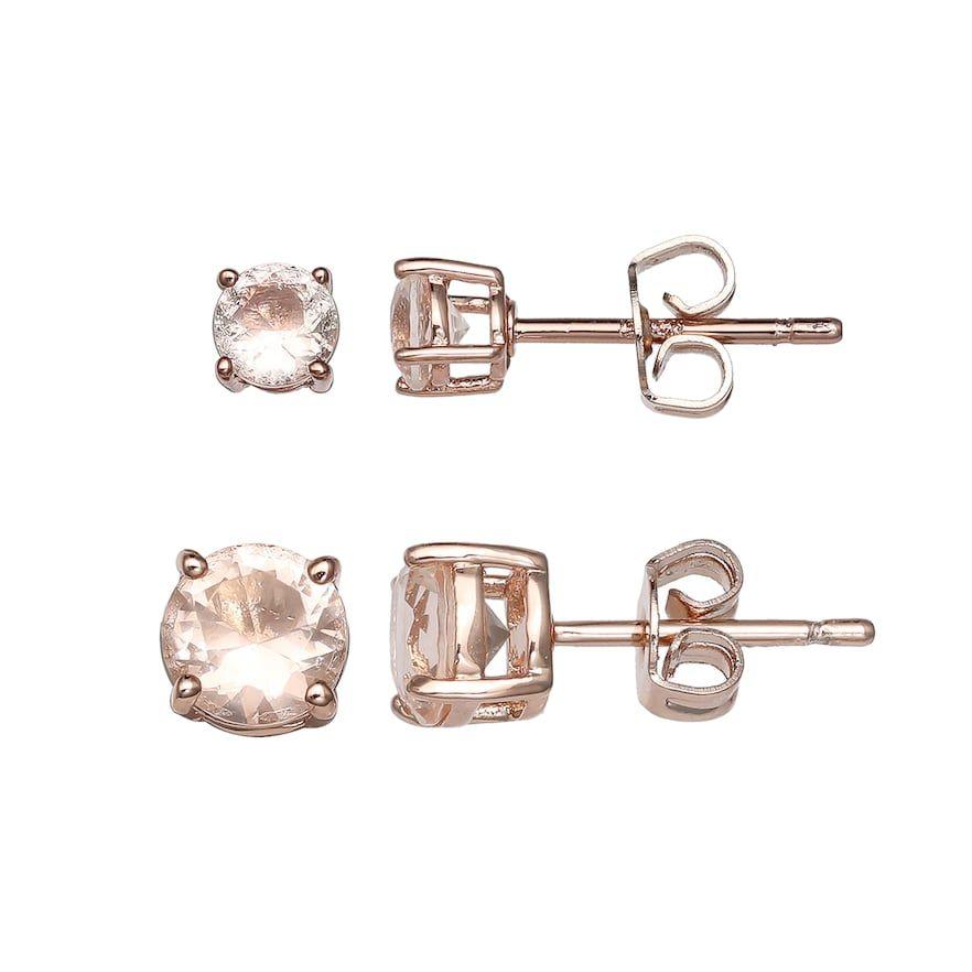 206e35b1d Primrose Rose Gold Tone Sterling Silver Cubic Zirconia Stud Earring Set,  White