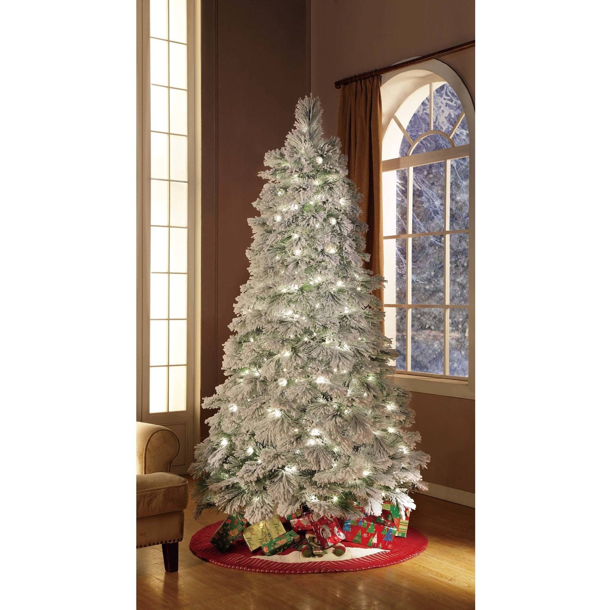 Holiday Time Artificial Christmas Trees Pre Lit 7 5 Flocked Artificial Tree Clear Lights Walmart Com Flocked Artificial Christmas Trees White Christmas Decor Christmas Tree