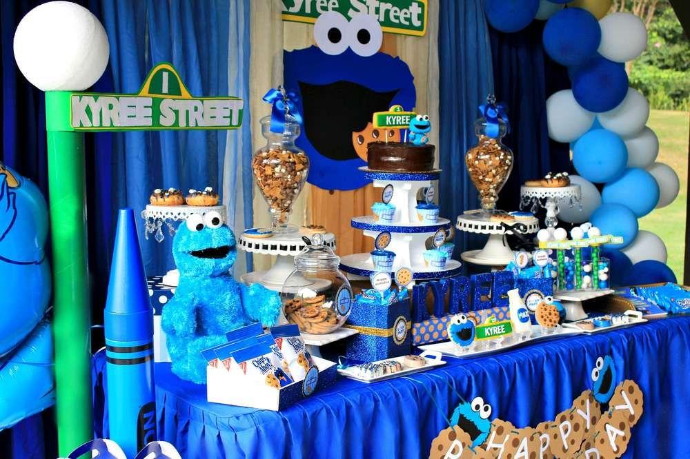 Cookie Monster Sesame Street Birthday Party Ideas Photo 27 Of 28 Cookie Monster Birthday Party Cookie Monster Party Sesame Street Birthday Party
