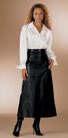 white blouse and leather skirt