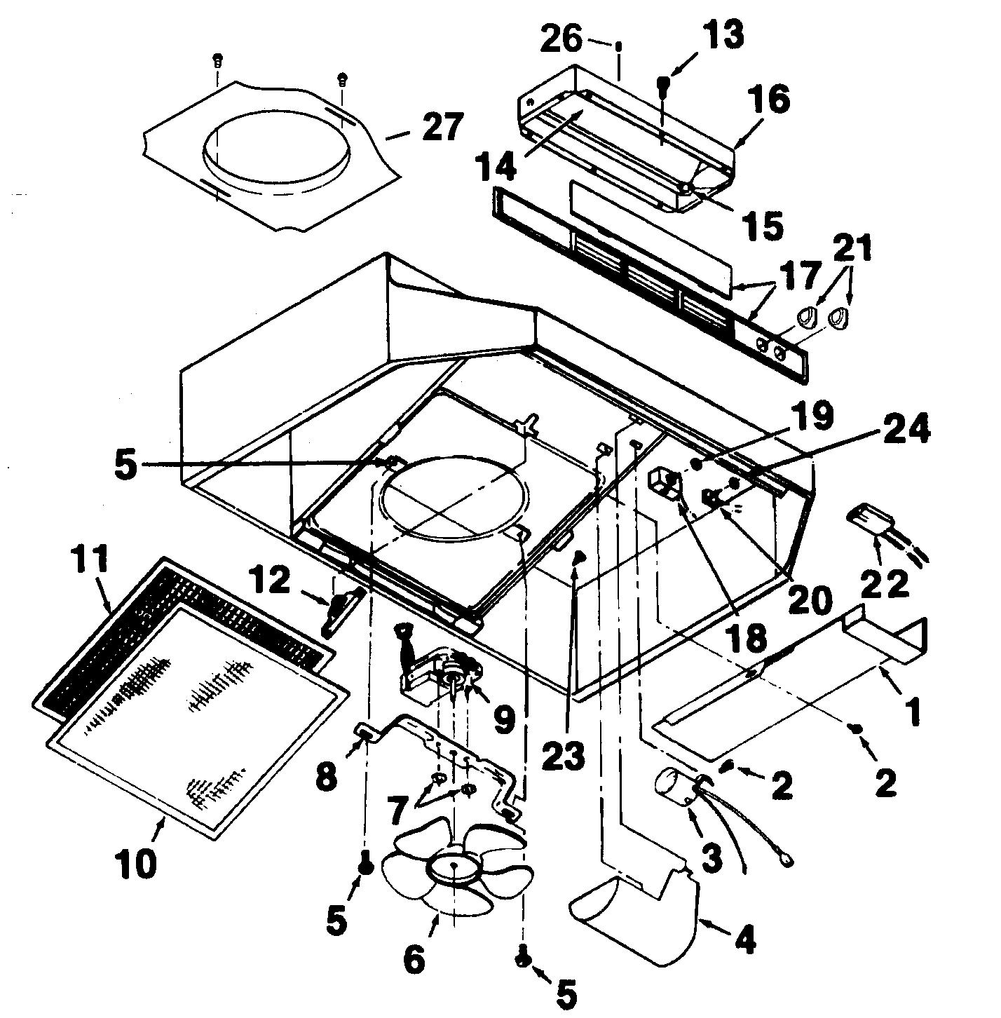 Range Hood Diagram Amp Parts List For Model Broan