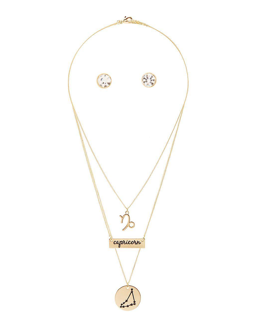 """Capricorn"" Astrology Necklace & Earrings Set #charlottelook"