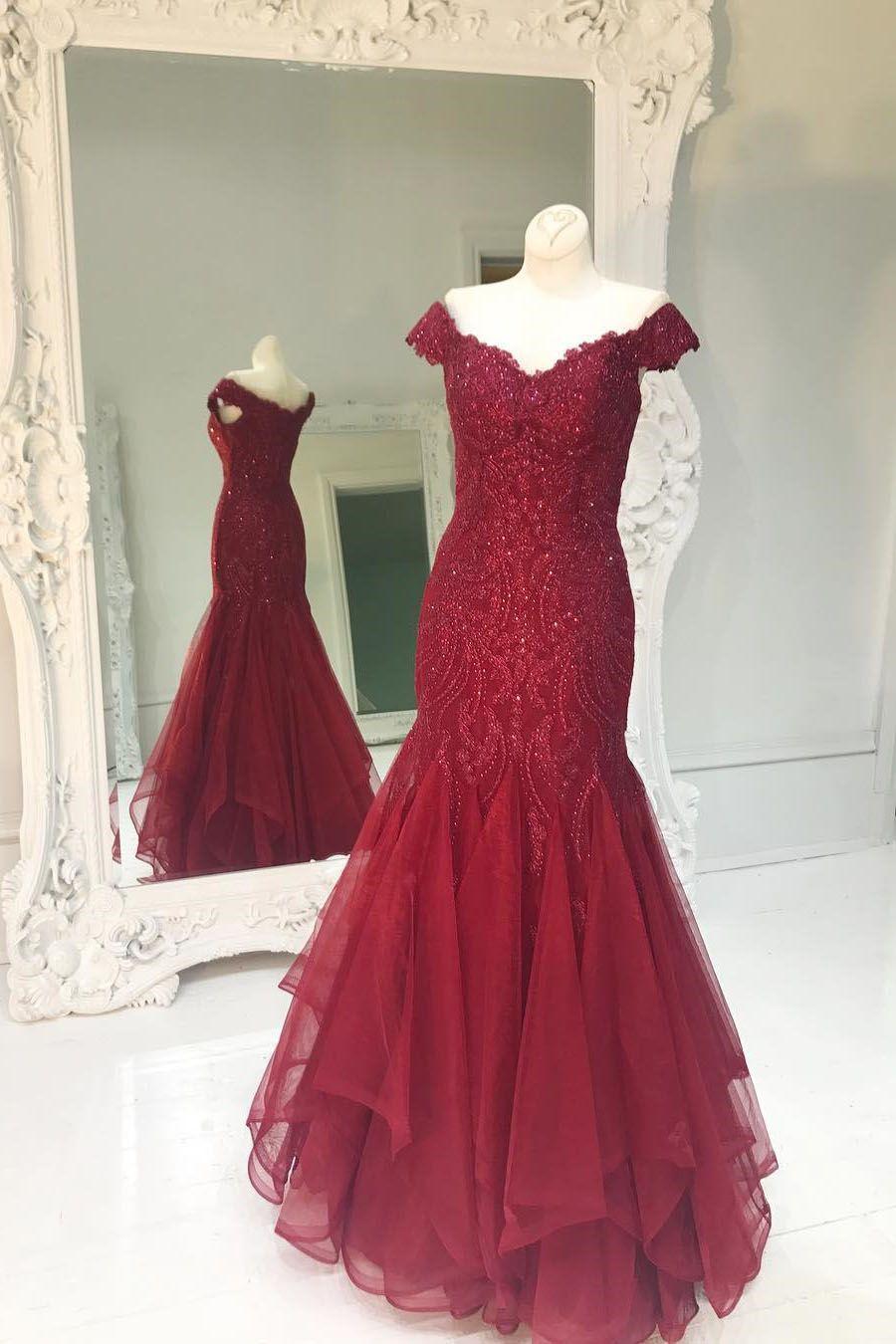 Sparkly beaded vino red mermaid long prom haljina glamour dresses