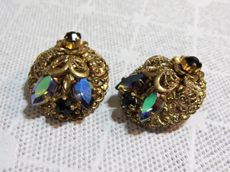 Fancy & Ornate Filigree Black Rhinestone Earrings ~ Vintage Glass Black  Aurora Borealis Stones Clip On