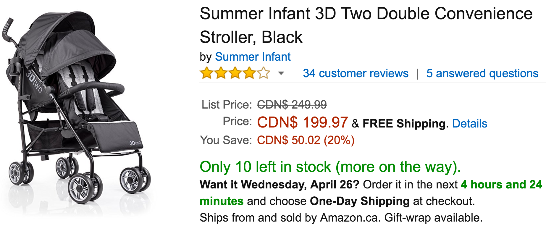 Amazon Canada Deals Save 20 on Summer Infant 3D Two