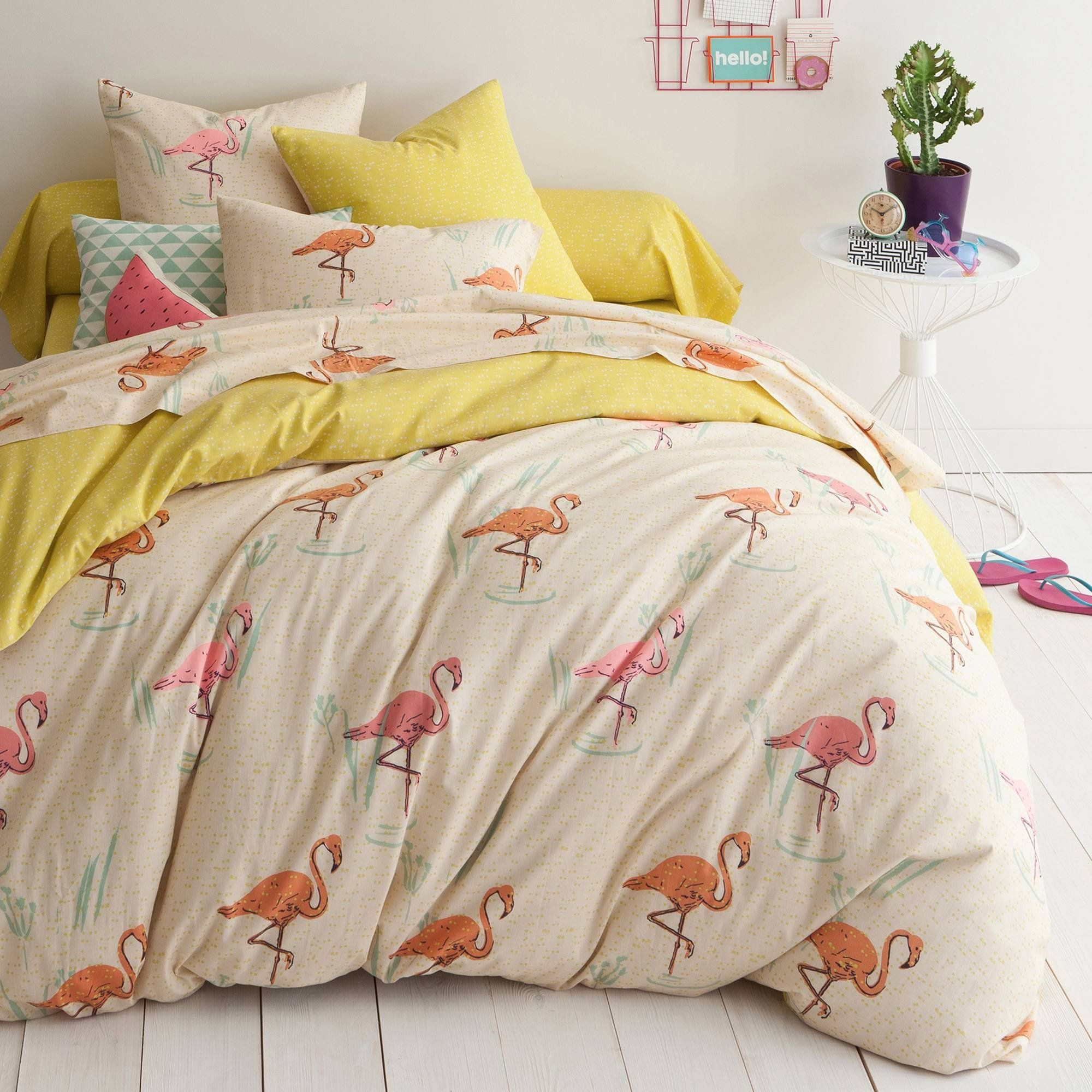 housse de couette coton imprim flamants gaston chambres bedrooms pinterest flamingo and. Black Bedroom Furniture Sets. Home Design Ideas