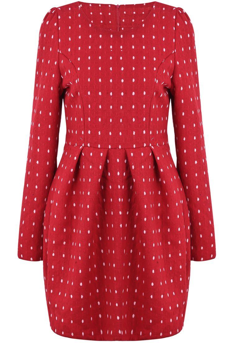 Red Long Sleeve Polka Dot Pleated Dress Us 33 99 Vestidos Plisados Mangas Largas Ropa Y Accesorios [ 1101 x 750 Pixel ]