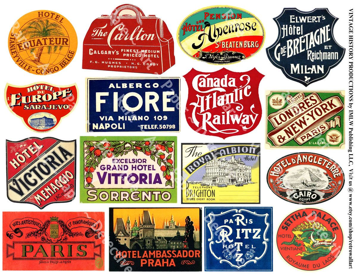 Travel Stickers Luggage Labels 9 Baggage Tags Retro Travel Etsy Luggage Labels Travel Stickers Printing Labels